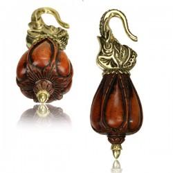 Brass & Sawo Wood Ear Weights