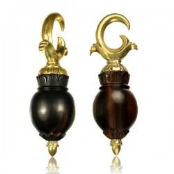 Brass & Narra Wood Ear Weights