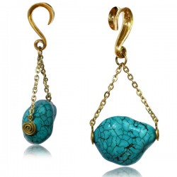 Brass Ear Weights with Turquoise Stone Dangle
