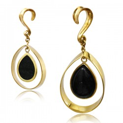 Brass Ear Weights with Black Obsidian Stone Hanger