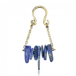 Brass Ear Weights with Dangle Blue Lapis Stones