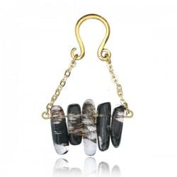 Brass Ear Weights with Dangle Smokey Quartz Stones
