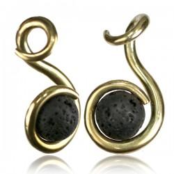 Brass & Lava Stone Ear Weights