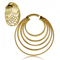 Handmade Brass Ear Spirals with Multiple Rings