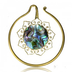 Brass Ear Spirals with Abalone Shell