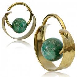 Brass Ear Spirals with Jade Stone Ball