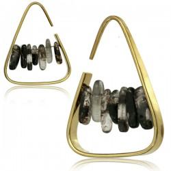 Brass Ear Spirals with Smokey Quartz Stones