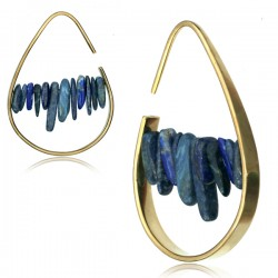 Brass Ear Spirals with Lapis Stones