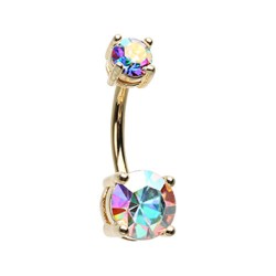 14g Gold Plated Surgical Steel Double Claw Set AB Gem Belly Button Ring