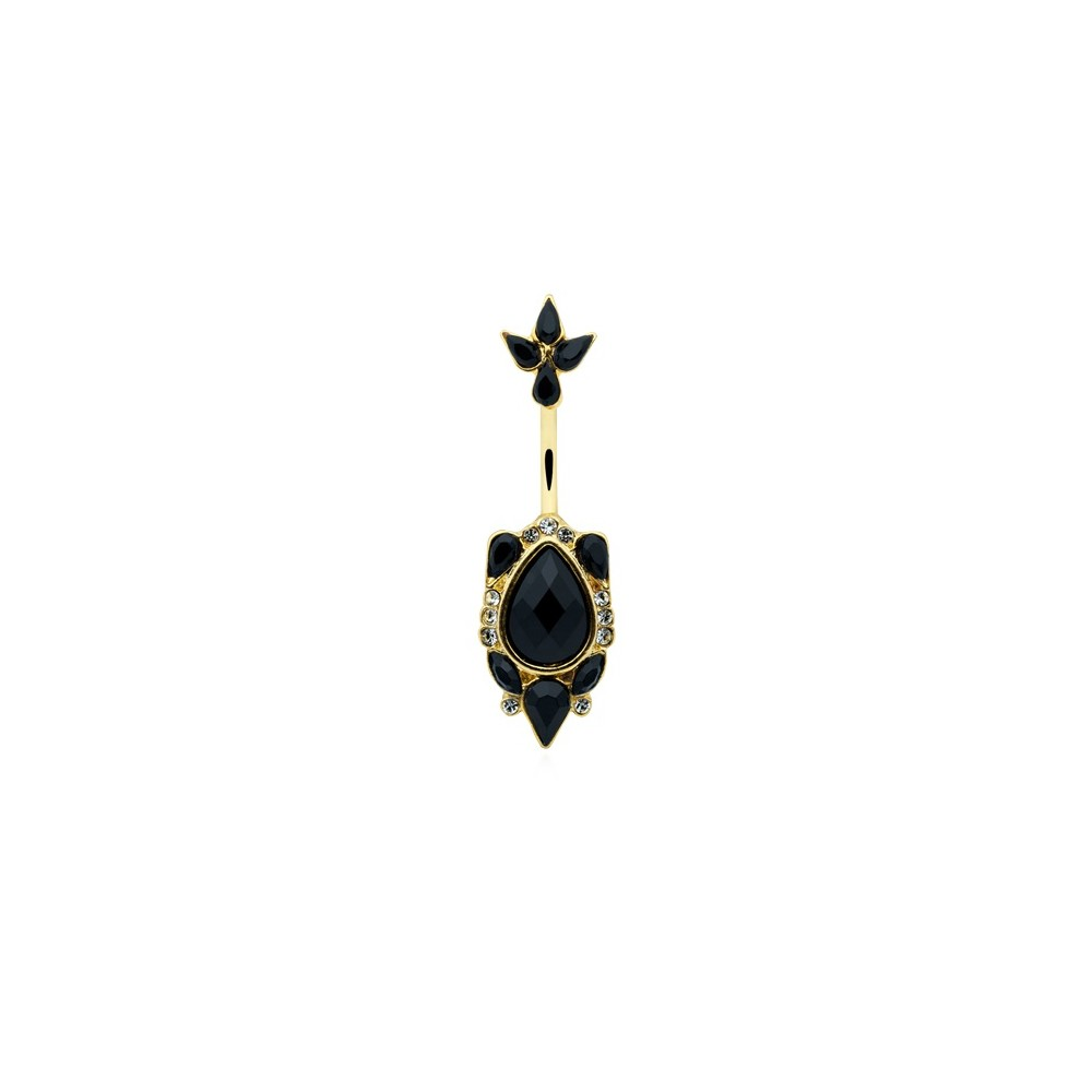 14g Gold Plated Surgical Steel Black Victorian Belly Button Ring