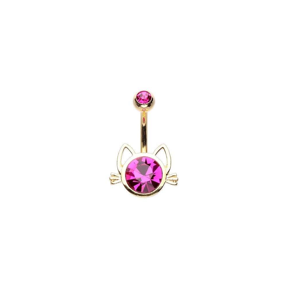 14g Gold Plated Gem Kitty Head Belly Button Ring
