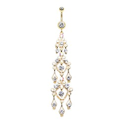 14g Gold Plated Surgical Steel Long Chandelier Dangle Belly Button Ring