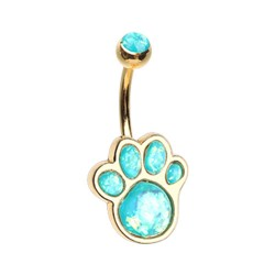 14g Gold Plated Surgical Steel Paw Print Belly Button Ring