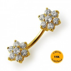 14g Gold Plated Surgical Steel Double Flower Spinal Belly Button Ring