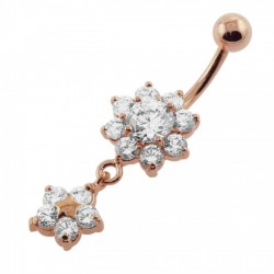 14g Rose Gold Plated Surgical Steel Flower Dangle Belly Button Ring