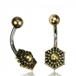 14g Surgical Steel & Brass Flower Belly Button Ring