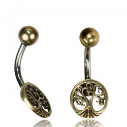14g Surgical Steel & Brass Tree of Life Belly Button Ring