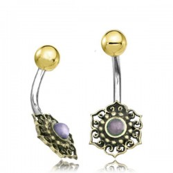 14g Surgical Steel & Brass Flower with Amethyst Stone Belly Button Ring