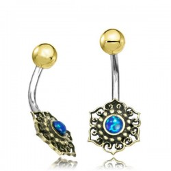 14g Surgical Steel & Brass Flower with Blue Opal Stone Belly Button Ring