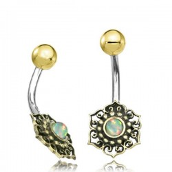 14g Surgical Steel & Brass Flower with White Opal Belly Button Ring