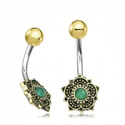 14g Surgical Steel & Brass Flower with Jade Stone Belly Button Ring