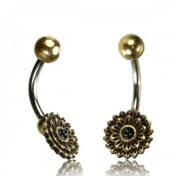 14g Surgical Steel & Brass Flower with Black Onyx Stone Belly Button Ring