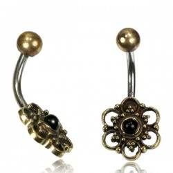14g Surgical Steel & Brass Flower with Black Onyx Belly Button Ring