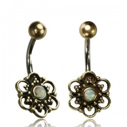 14g Surgical Steel & Brass Flower with White Opal Stone Belly Button Ring