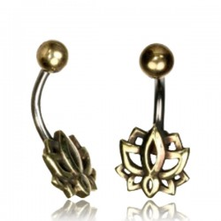 14g Surgical Steel & Brass Lotus Flower Belly Button Ring