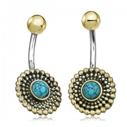 14g Surgical Steel & Brass Design with Turquoise Stone Belly Button Ring