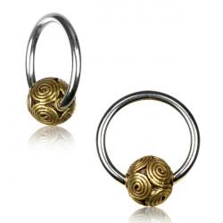 16g + 14g Surgical Steel CBR with Brass Spiral Ball