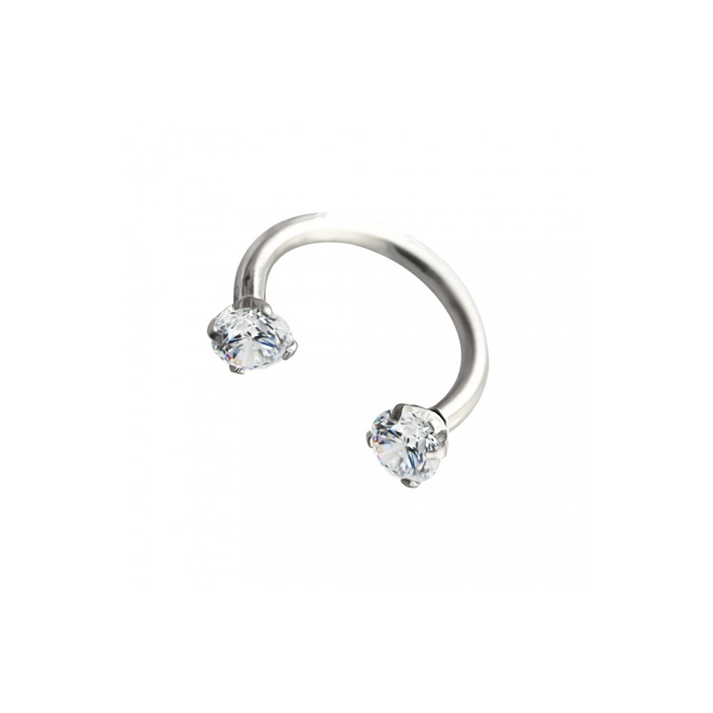 16g Surgical Steel Horseshoe with Internal Threaded Round Claw Gems