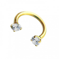 16g Gold Plated Surgical Steel Horseshoe with Internal Threaded Round Claw Gems