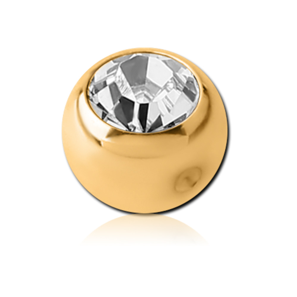 Gold Plated Surgical Steel Jewelled Dimpled Ball for CBR