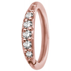 18g Rose Gold Plated Surgical Steel Jewelled Hinged Nose Hoop