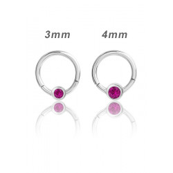 Surgical Steel Hinged Segment Ring with Jewelled Ball