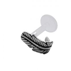 Surgical Steel Feather Bioplast Internal Labret for Ear Cartilage or Tragus