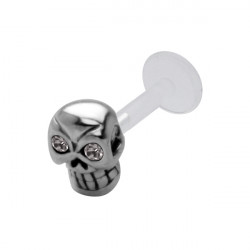 925 Sterling Silver Black CZ Skull Bioplast Internal Labret for Ear Cartilage or Tragus
