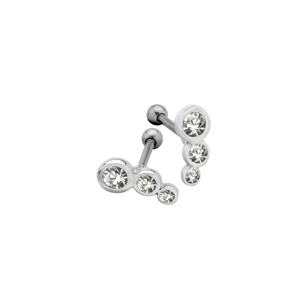 Surgical Steel Ear Cartilage Barbell with Three Ascending Sized Jewels for Left Ear