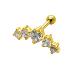 Five Jewelled Claw Set Gold Plated Surgical Steel Ear Cartilage Barbell