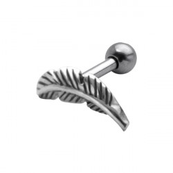 Surgical Steel Feather Ear Cartilage Barbell for Left Ear