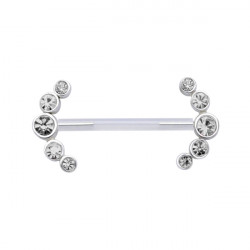 Bioplast Nipple Barbell with Double Five Jewelled Ends