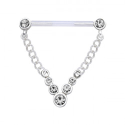 Bioplast Nipple Barbell with CZ Gem Dangle
